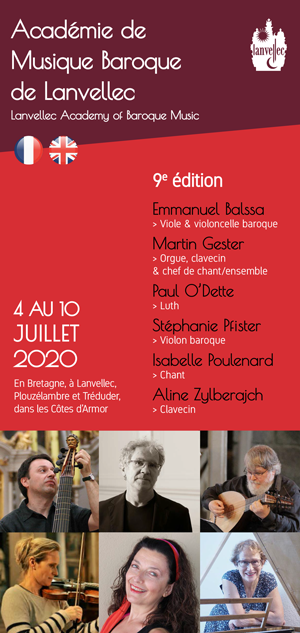 Dépliant de présentation de l'Académie de musique baroque de Lanvellec